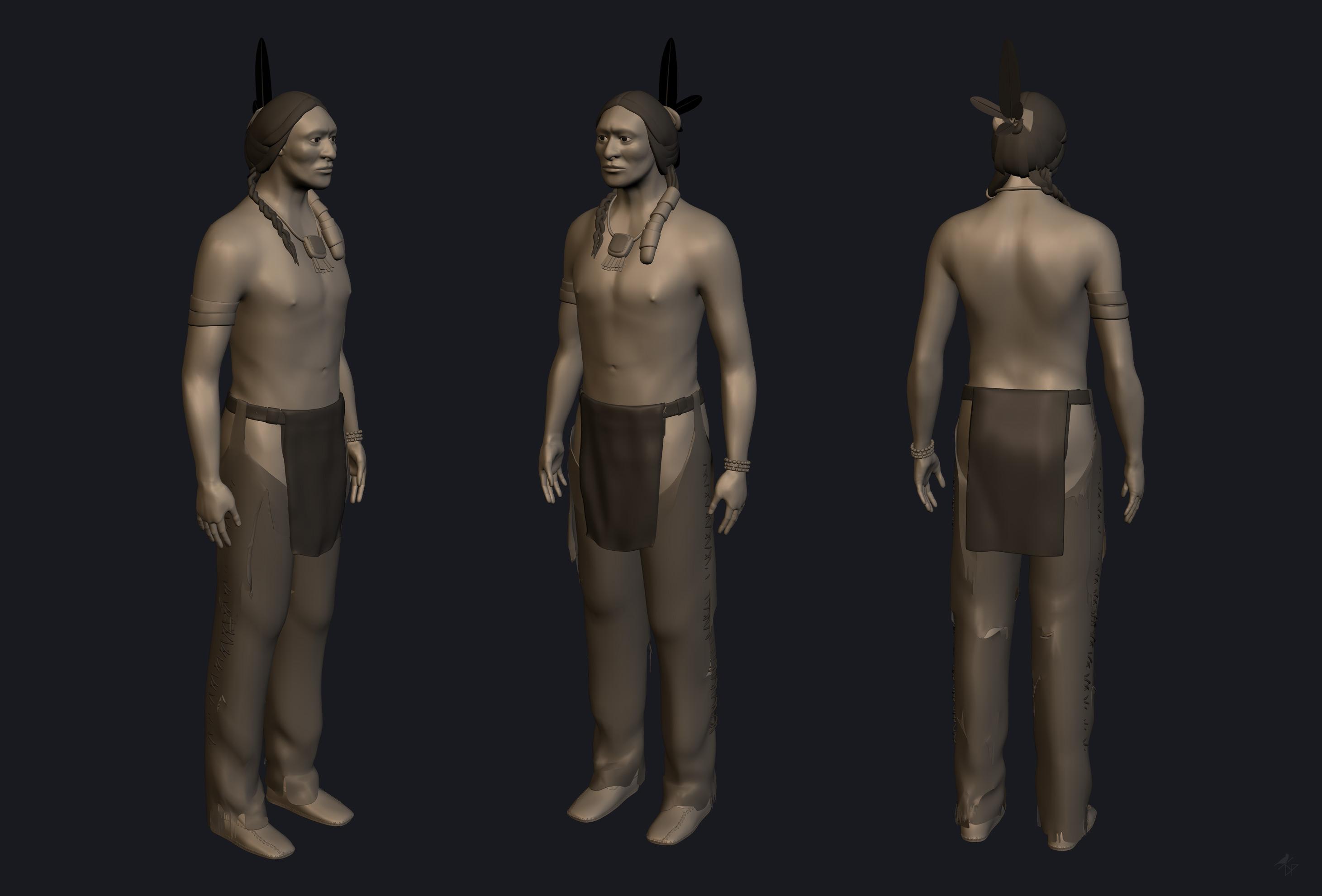3D modelisation damien pons blender amerindian indian strasbourg character